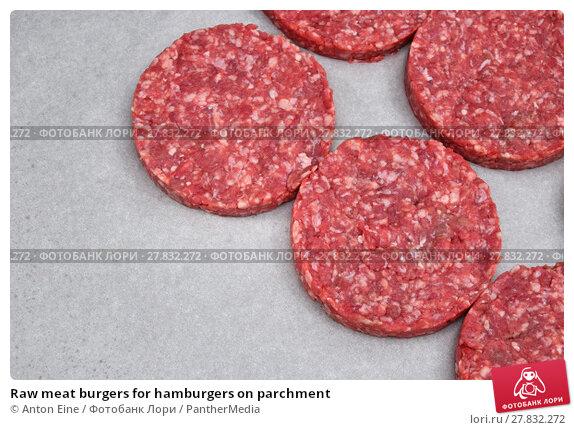 Купить «Raw meat burgers for hamburgers on parchment», фото № 27832272, снято 19 октября 2018 г. (c) PantherMedia / Фотобанк Лори
