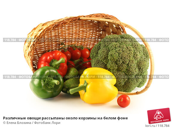 Купить «Различные овощи рассыпаны около корзины на белом фоне», фото № 118784, снято 24 июля 2007 г. (c) Елена Блохина / Фотобанк Лори