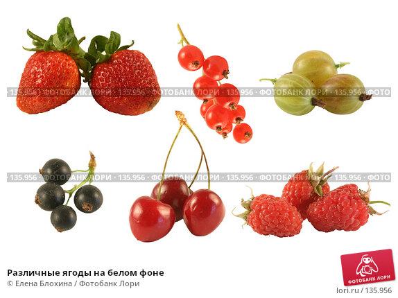 Различные ягоды на белом фоне, фото № 135956, снято 26 мая 2017 г. (c) Елена Блохина / Фотобанк Лори