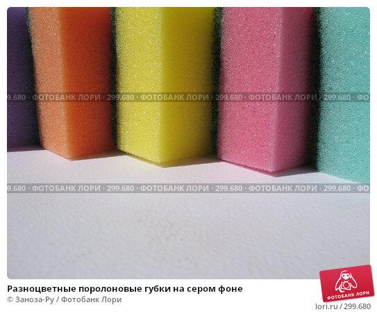Разноцветные поролоновые губки на сером фоне, фото № 299680, снято 24 мая 2008 г. (c) Заноза-Ру / Фотобанк Лори