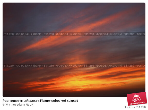 Разноцветный закат Flame-coloured sunset, фото № 311280, снято 20 января 2017 г. (c) Михаил / Фотобанк Лори