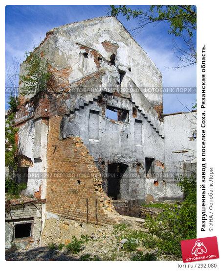 Разрушенный завод в поселке Соха. Рязанская область., фото № 292080, снято 17 мая 2008 г. (c) УНА / Фотобанк Лори