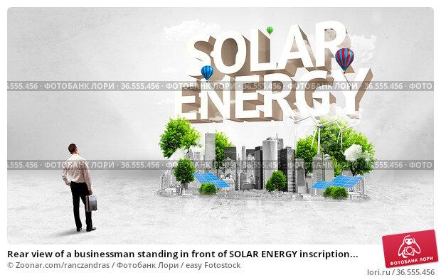 Rear view of a businessman standing in front of SOLAR ENERGY inscription... Стоковое фото, фотограф Zoonar.com/ranczandras / easy Fotostock / Фотобанк Лори