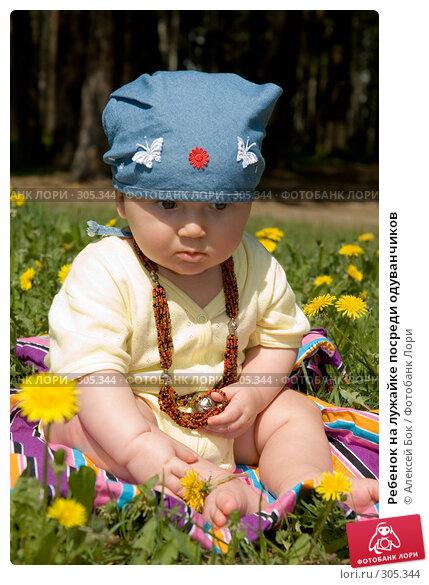 Ребенок на лужайке посреди одуванчиков, эксклюзивное фото № 305344, снято 19 мая 2007 г. (c) Алексей Бок / Фотобанк Лори