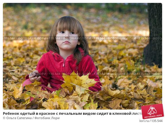 Ребенок одетый в красное с печальным видом сидит в кленовой листве, фото № 135544, снято 1 октября 2007 г. (c) Ольга Сапегина / Фотобанк Лори