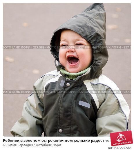 Ребенок в зеленом остроконечном колпаке радостно кричит, фото № 227588, снято 30 октября 2007 г. (c) Лилия Барладян / Фотобанк Лори