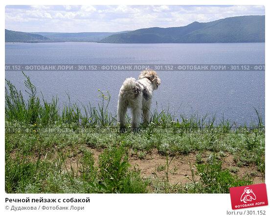 Речной пейзаж с собакой, фото № 301152, снято 1 июля 2004 г. (c) Дудакова / Фотобанк Лори
