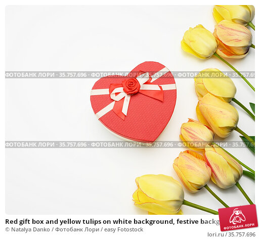 Red gift box and yellow tulips on white background, festive background... Стоковое фото, фотограф Natalya Danko / easy Fotostock / Фотобанк Лори