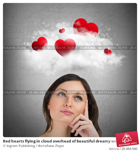 Купить «Red hearts flying in cloud overhead of beautiful dreamy woman. Valentine's day background», фото № 28484940, снято 19 марта 2019 г. (c) Ingram Publishing / Фотобанк Лори