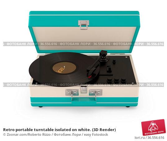 Retro portable turntable isolated on white. (3D Render) Стоковое фото, фотограф Zoonar.com/Roberto Rizzo / easy Fotostock / Фотобанк Лори