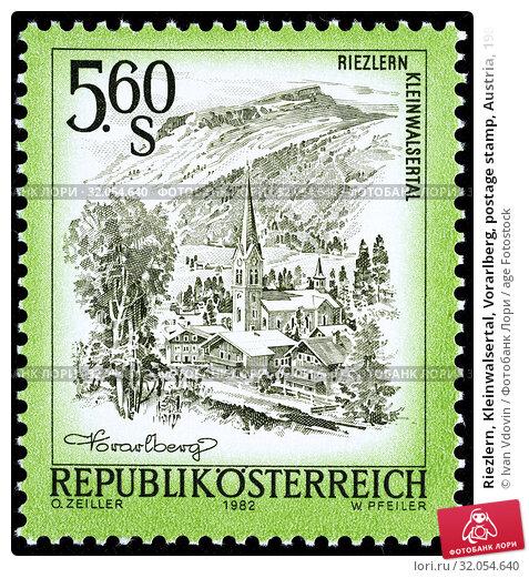 Riezlern, Kleinwalsertal, Vorarlberg, postage stamp, Austria, 1982. (2013 год). Редакционное фото, фотограф Ivan Vdovin / age Fotostock / Фотобанк Лори