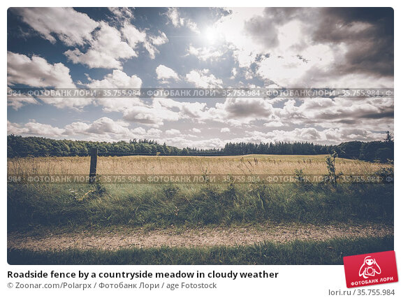 Roadside fence by a countryside meadow in cloudy weather. Стоковое фото, фотограф Zoonar.com/Polarpx / age Fotostock / Фотобанк Лори