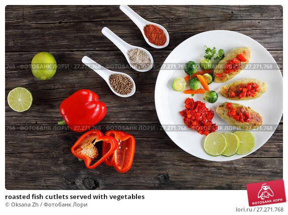 Купить «roasted fish cutlets served with vegetables», фото № 27271768, снято 28 ноября 2017 г. (c) Oksana Zhupanova / Фотобанк Лори