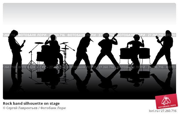Купить «Rock band silhouette on stage», иллюстрация № 27260716 (c) Сергей Лаврентьев / Фотобанк Лори