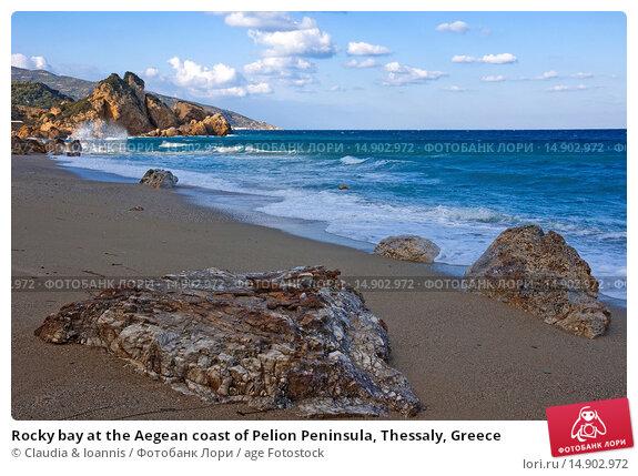 Купить «Rocky bay at the Aegean coast of Pelion Peninsula, Thessaly, Greece», фото № 14902972, снято 12 января 2012 г. (c) age Fotostock / Фотобанк Лори