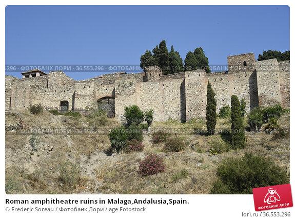 Roman amphitheatre ruins in Malaga,Andalusia,Spain. Стоковое фото, фотограф Frederic Soreau / age Fotostock / Фотобанк Лори