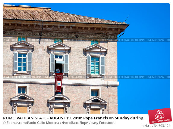 ROME, VATICAN STATE - AUGUST 19, 2018: Pope Francis on Sunday during... Стоковое фото, фотограф Zoonar.com/Paolo Gallo Modena / easy Fotostock / Фотобанк Лори