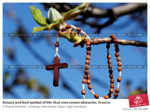 Rosary and bud symbol of life that overcomes obstacles. France. Стоковое фото, фотограф Pascal Deloche / Godong / age Fotostock / Фотобанк Лори