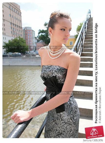 Роскошная брюнетка на мосту, Luxurious brunette on bridge, фото № 335976, снято 23 июня 2008 г. (c) Astroid / Фотобанк Лори