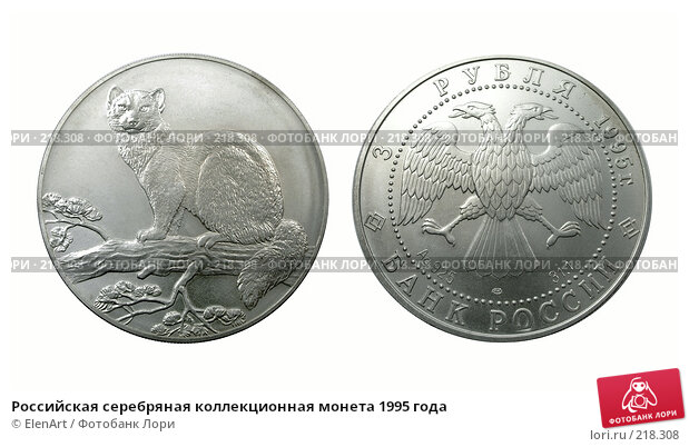 Купить «Российская серебряная коллекционная монета 1995 года», фото № 218308, снято 22 марта 2018 г. (c) ElenArt / Фотобанк Лори
