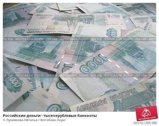 Российские деньги - тысячерублевые банкноты, фото № 259168, снято 17 февраля 2008 г. (c) Лукиянова Наталья / Фотобанк Лори