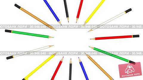 Купить «Rotating multicolored pencils in a circle», видеоролик № 30948640, снято 15 июня 2019 г. (c) WalDeMarus / Фотобанк Лори