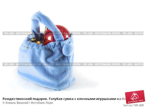 Рождественский подарок. Голубая сумка с елочными игрушками на белом фоне., фото № 181420, снято 22 ноября 2006 г. (c) Коваль Василий / Фотобанк Лори