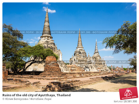 Купить «Ruins of the old city of Ayutthaya, Thailand», фото № 28581300, снято 27 января 2017 г. (c) Юлия Белоусова / Фотобанк Лори
