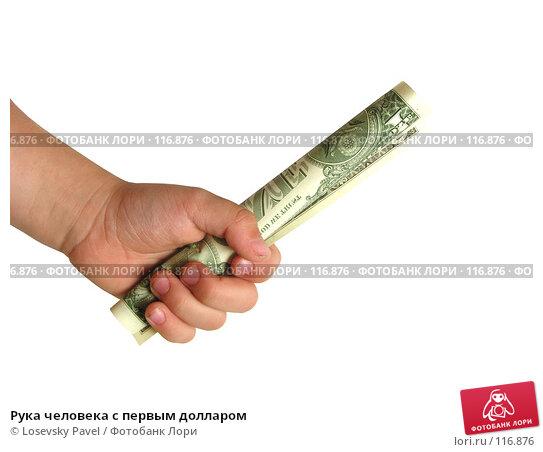 Рука человека с первым долларом, фото № 116876, снято 5 февраля 2006 г. (c) Losevsky Pavel / Фотобанк Лори