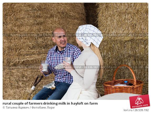 Купить «rural couple of farmers drinking milk in hayloft on farm», фото № 28539192, снято 18 июня 2018 г. (c) Татьяна Яцевич / Фотобанк Лори