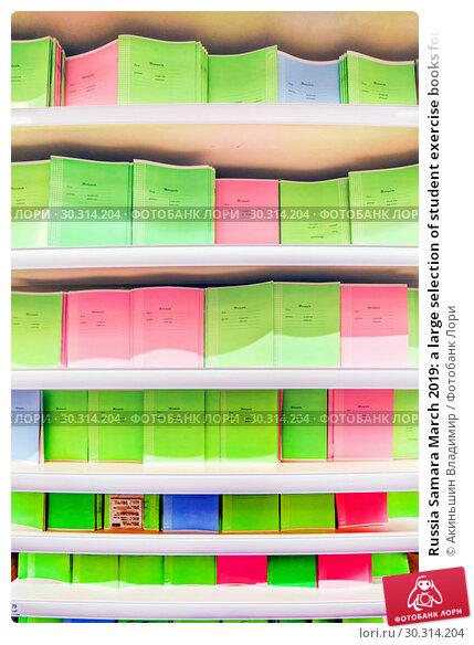 Купить «Russia Samara March 2019: a large selection of student exercise books for schoolchildren. Text in Russian: notebook, class, school,», фото № 30314204, снято 1 марта 2019 г. (c) Акиньшин Владимир / Фотобанк Лори