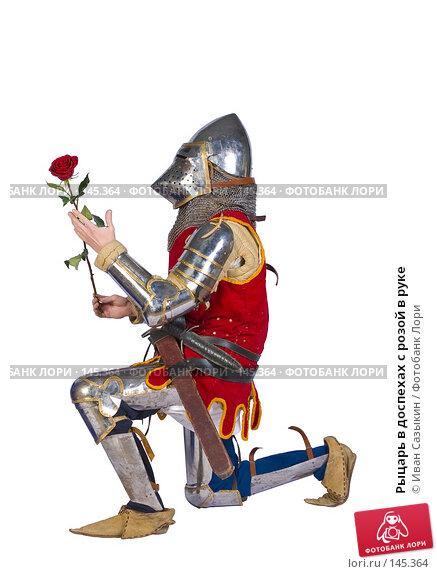 Купить «Рыцарь в доспехах с розой в руке», фото № 145364, снято 29 января 2006 г. (c) Иван Сазыкин / Фотобанк Лори
