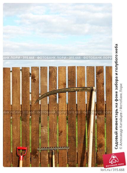 Садовый инвентарь на фоне забора и голубого неба, фото № 315668, снято 8 июня 2008 г. (c) Александр Катайцев / Фотобанк Лори