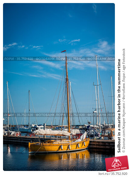 Sailboat in a marine harbor in the summertime. Стоковое фото, фотограф Zoonar.com/Kasper Nymann / age Fotostock / Фотобанк Лори
