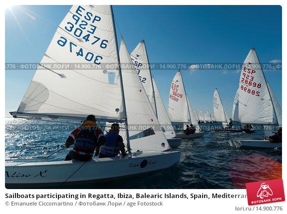 Купить «Sailboats participating in Regatta, Ibiza, Balearic Islands, Spain, Mediterranean, Europe.», фото № 14900776, снято 18 июня 2018 г. (c) age Fotostock / Фотобанк Лори