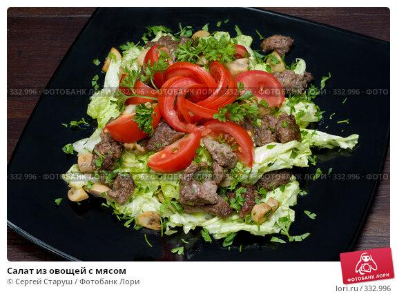 Купить «Салат из овощей с мясом», фото № 332996, снято 22 июня 2008 г. (c) Сергей Старуш / Фотобанк Лори