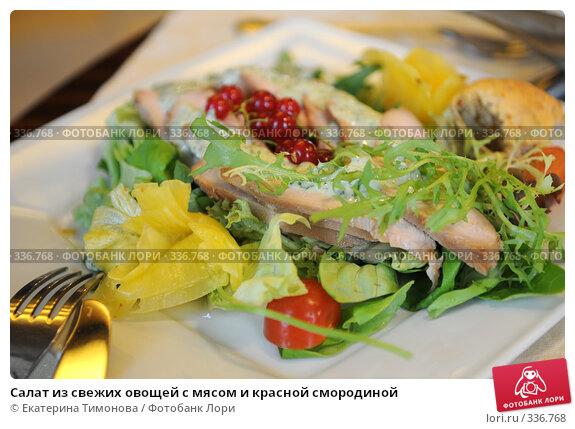 Салат из свежих овощей с мясом и красной смородиной, фото № 336768, снято 5 июня 2007 г. (c) Екатерина Тимонова / Фотобанк Лори