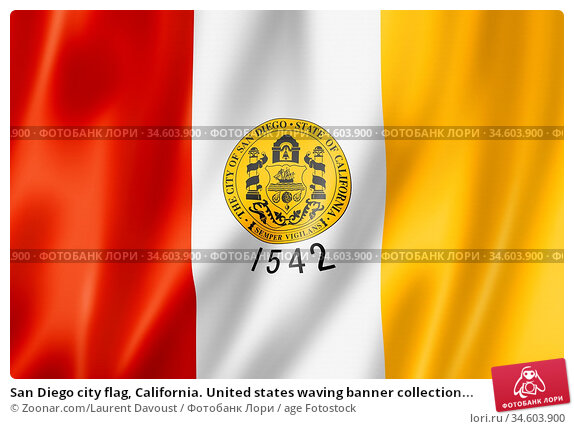 San Diego city flag, California. United states waving banner collection... Стоковое фото, фотограф Zoonar.com/Laurent Davoust / age Fotostock / Фотобанк Лори