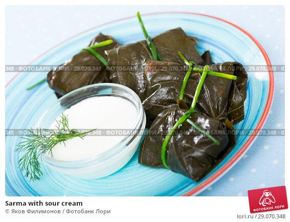 Купить «Sarma with sour cream», фото № 29070348, снято 14 марта 2019 г. (c) Яков Филимонов / Фотобанк Лори
