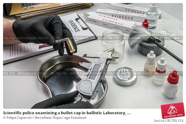 Scientific police examining a bullet cap in ballistic Laboratory, ... Стоковое фото, фотограф Felipe Caparrós / age Fotostock / Фотобанк Лори