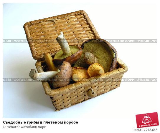 Съедобные грибы в плетеном коробе, фото № 218648, снято 26 июня 2017 г. (c) ElenArt / Фотобанк Лори