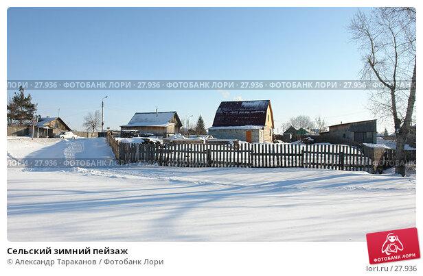 Сельский зимний пейзаж, фото № 27936, снято 27 марта 2017 г. (c) Александр Тараканов / Фотобанк Лори