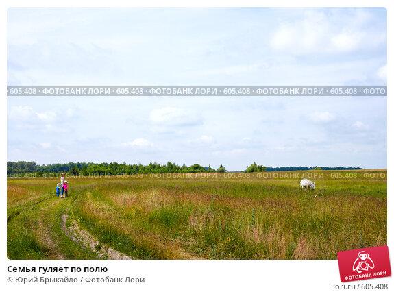 Семья гуляет по полю, фото № 605408, снято 14 июня 2008 г. (c) Юрий Брыкайло / Фотобанк Лори