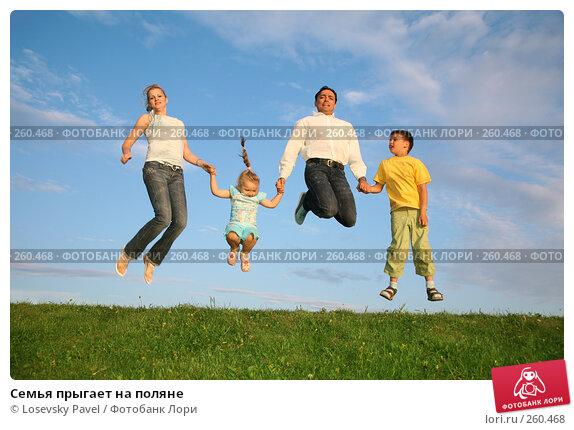 Семья прыгает на поляне, фото № 260468, снято 23 февраля 2017 г. (c) Losevsky Pavel / Фотобанк Лори