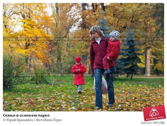 Семья в осеннем парке, фото № 197236, снято 27 октября 2007 г. (c) Юрий Брыкайло / Фотобанк Лори