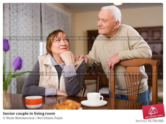 Senior couple in living room. Стоковое фото, фотограф Яков Филимонов / Фотобанк Лори