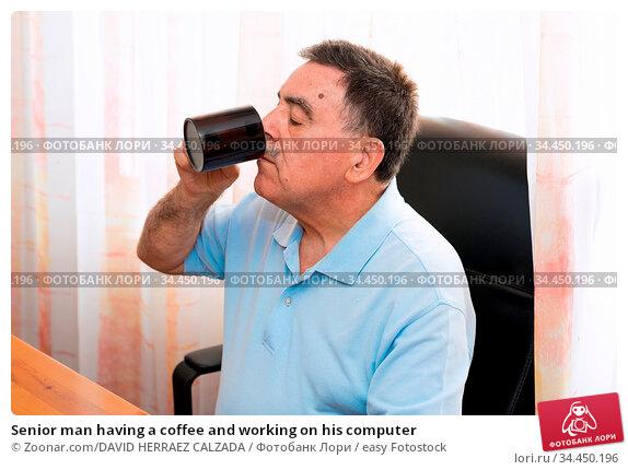Senior man having a coffee and working on his computer. Стоковое фото, фотограф Zoonar.com/DAVID HERRAEZ CALZADA / easy Fotostock / Фотобанк Лори