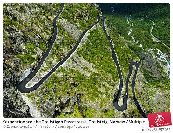 Serpentinenreiche Trollstigen Passstrasse, Trollsteig, Norway / Multiple... Стоковое фото, фотограф Zoonar.com/Stan / age Fotostock / Фотобанк Лори