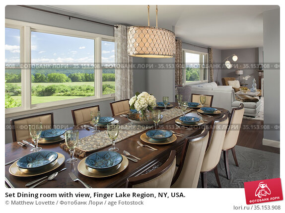 Set Dining room with view, Finger Lake Region, NY, USA. Стоковое фото, фотограф Matthew Lovette / age Fotostock / Фотобанк Лори