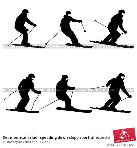 Купить «Set mountain skier speeding down slope sport silhouette», иллюстрация № 28426688 (c) Фотограф / Фотобанк Лори